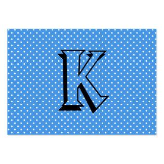 Polka dotsblåttvit spots retro monogramanpassnings visitkort mall