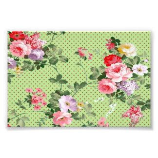 polka-pricker blom- blommor för härlig vintage mön fototryck