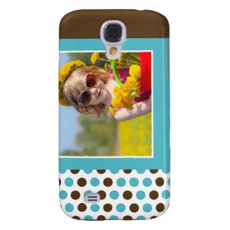 Polkadot fotoanpassningsbar 3G (aqua) Galaxy S4 Fodral