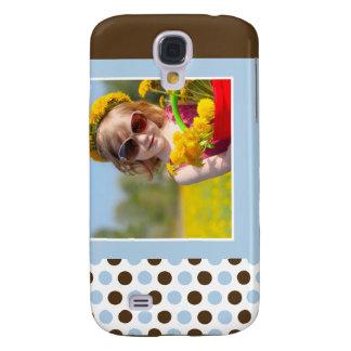Polkadot fotoanpassningsbar 3G (blått) Galaxy S4 Fodral