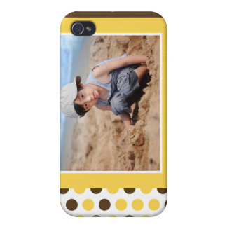 Polkadot fotoanpassningsbar (gult) iPhone 4 cover