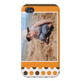 Polkadot fotoanpassningsbar (orangen) iPhone 4 skydd