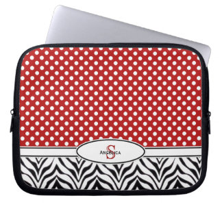 Polkadot & sebra: Monogramlaptop sleeve Laptop Datorskydd