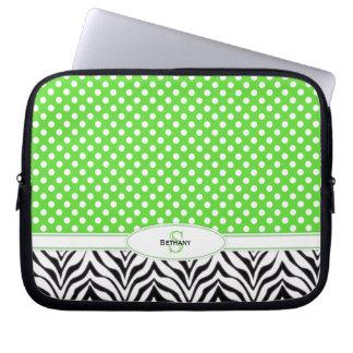 Polkadot & sebra: Monogramlaptop sleeve Laptop Datorfodral