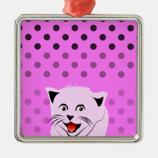 Polkadots_cats_pink_patterns_design Julgransprydnad Metall