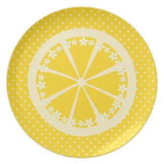 Polkadots och citroner tallrik