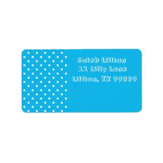 Polkaen för bassängpartyblått pricker etiketter adressetikett