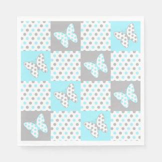 Polkaen för fjärilen för blåttgrå färggrått papper servetter