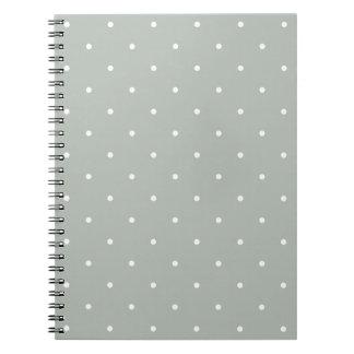 Polkaen för grått för femtiotalstilsilver pricker anteckningsbok med spiral