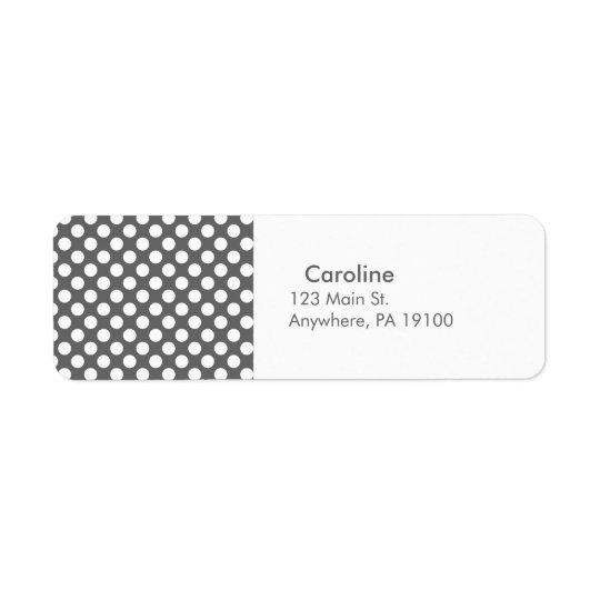 Polkaen för vit för Monogramkolgrått pricker Returadress Etikett