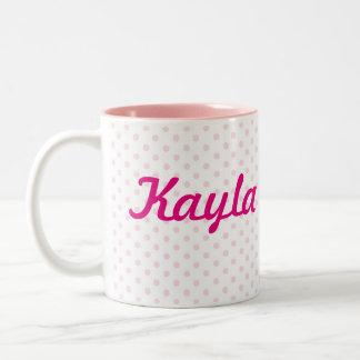 Polkaen för vit för ♥MUGG♥ KAYLA pricker den rosa Två-Tonad Mugg