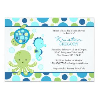 Polkaen pricker blått för │ för havsbaby 12,7 x 17,8 cm inbjudningskort