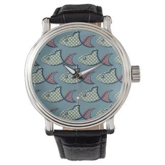 Polkaen pricker fiskmönster armbandsur