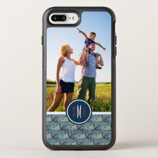 Polkaen pricker fiskmönster   din foto & Monogram OtterBox Symmetry iPhone 7 Plus Skal
