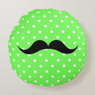 Polkaen pricker grönt för glamour för mustaschmode rund kudde
