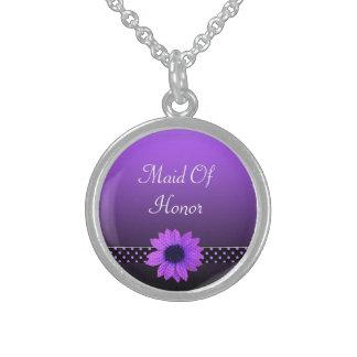Polkaen pricker purpurfärgat bröllop för daisy sterling silver halsband