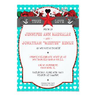 Polkaen pricker Rockabilly bröllopinbjudan för 12,7 X 17,8 Cm Inbjudningskort