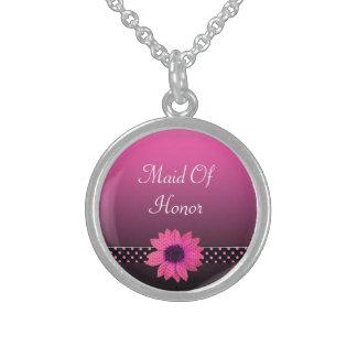 Polkaen pricker rosa bröllop för daisy sterling silver halsband