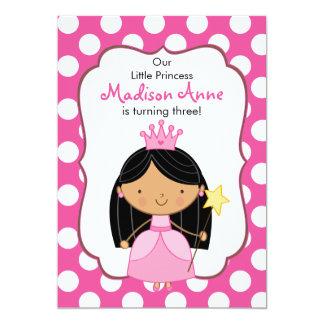 Polkaen pricker svart för Princess födelsedagsfest 12,7 X 17,8 Cm Inbjudningskort