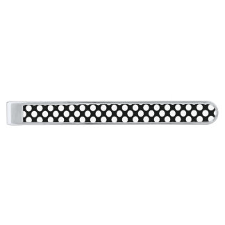 Polkaen pricker (svarten & vit) några den storleka slipsnål med silverfinish