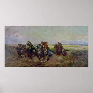 Polska Lancers som anfaller Ryss, 1920 Poster