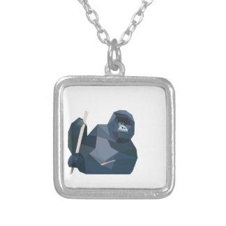 Poly gorilla silverpläterat halsband