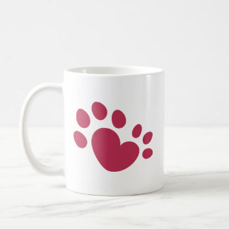 Polydactyl hjärta för katttasstryck kaffemugg