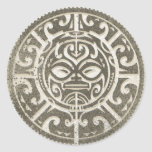 Polynesian stam- ansiktebrunt runt klistermärke