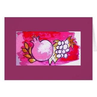 Pomegranate- och druvahälsningen/noterar kortet hälsningskort