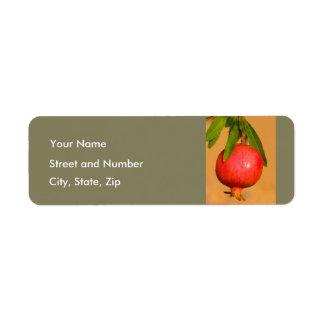 Pomegranate Rosh HaShana Returadress Etikett