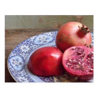 Pomegranatefruktstilleben Vykort