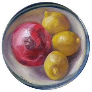 Pomegranaten & citronporslin pläterar porslinstallrik
