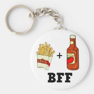 Pommes frites & Ketchup BFF Rund Nyckelring