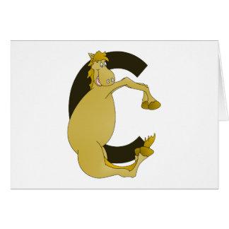 Ponny för Monogrambrev C Hälsningskort