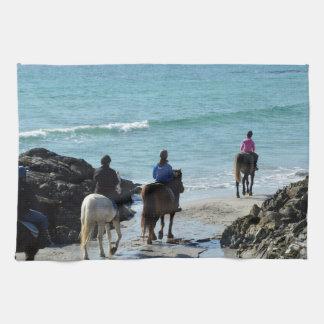 Ponny som trekking längs stranden kökshandduk