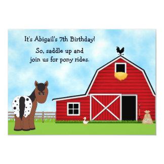 Ponnyn rider rida födelsedaginbjudan 12,7 x 17,8 cm inbjudningskort