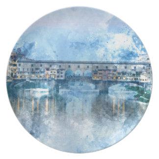 Ponte Vecchio på Riveret Arno i Florence, italien Tallrik