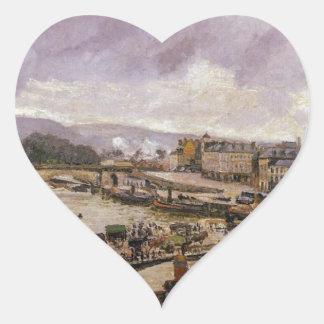 Ponten Boieldieu, Rouen, regnar verkställer vid Hjärtformat Klistermärke