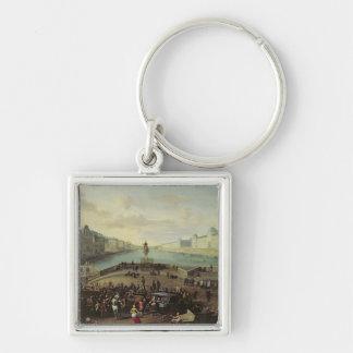 Ponten Neuf, Paris, 1665-69 Fyrkantig Silverfärgad Nyckelring