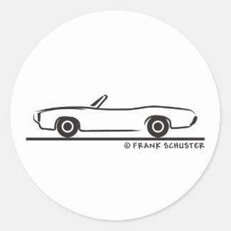 Pontiac GTO cabriolet 1969 Runt Klistermärke