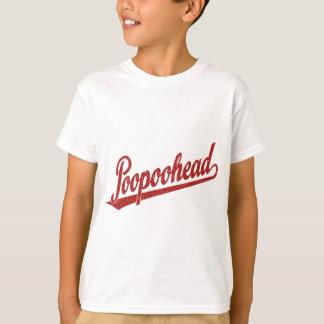 Poopoohead skrivar logotypen i bekymrat rött tröjor