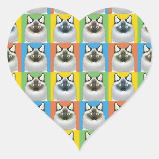 Pop-Konst för Birman katttecknad Hjärtformat Klistermärke