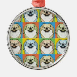 Pop-Konst för Pekingese hundtecknad Julgransprydnad Metall