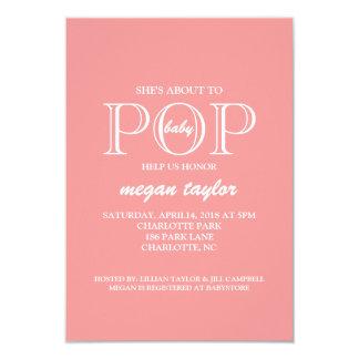 POP |pink för baby showerinbjudan | 8,9 X 12,7 Cm Inbjudningskort