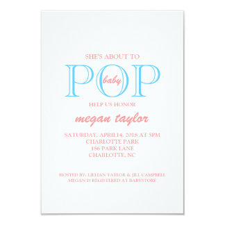 Popbaby showerinbjudan |whitepiblu 8,9 x 12,7 cm inbjudningskort