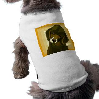 Popkonstpudel i oliv grönt och gult långärmad hundtöja