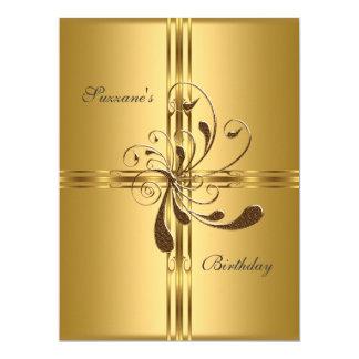 Populär guld- födelsedagsfest 16,5 x 22,2 cm inbjudningskort