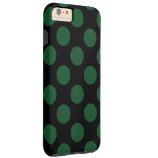 Populär svart och grön polka dots tough iPhone 6 plus fodral