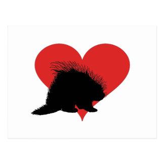 Porcupine med en stor röd hjärta vykort
