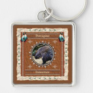 Porcupine - Oskuld Keychain Fyrkantig Silverfärgad Nyckelring